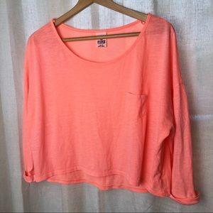 VS Pink Neon Coral-Orange Cropped 3/4 Sleeve Top